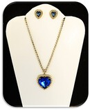 Vintage Fashion Jewelry Necklace and Earring set with Rhinestones and Blue Sapphire