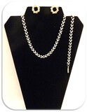 Vintage Fashion Jewelry Necklace, Earring, and Bracelet set with Rhinestones