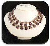 Vintage Fashion Jewelry Necklace with Amethyst, Glass, and Crystal