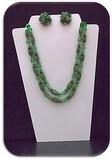 Necklace & Earring set w/ Velvet Beads & Crystal