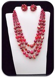 Necklace & Earring set w/ Celluloid Beads & Crystals