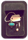 Vintage Silver, Faux Pearl, CZ, & Turquoise Ring Set with Box