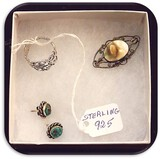 Vintage Sterling Silver Ring, Pin Brooch, and Earring Lot