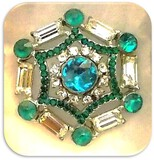 Vintage Brooch with Blue Topaz and Green and White Rhinestones
