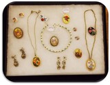 Lot of W. Germany, Japan Necklaces, Earrings, & Porcelain Brooches