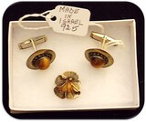 Israeli Sterling Silver Cufflink and Pin Set