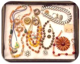 Lot of Necklaces, Earrings, and Brooches with Multicolored Beads