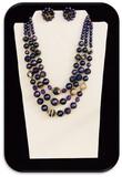 Vintage Necklace & Earring set w/ Blue Beads & Violet Crystal
