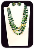 Vintage Necklace & Earring set w/ Green & Crystal Beads
