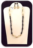 14K 1/20 Gold Filled Necklace & Earring set w/ Clear & Black Stone