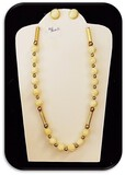 14K 1/20 Gold Filled Necklace & Earring set w/ Gold Beads & Mother of Pearl