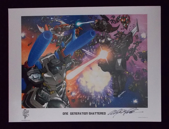"Signed  ""One Generation Shattered"" Transformers 2008 Botcon Lithograph"
