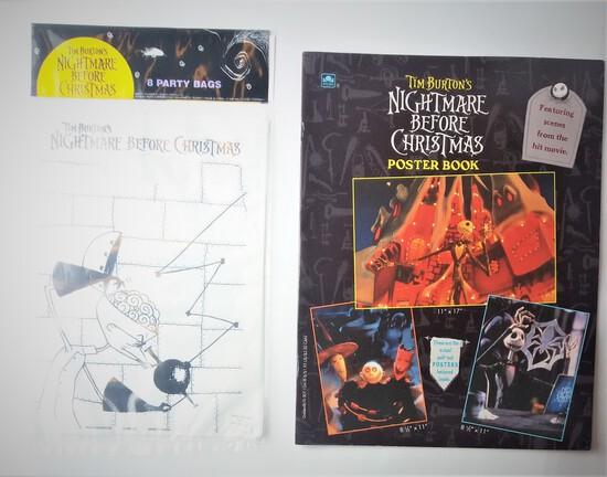 Vintage Disney Nightmare Before Christmas Poster Book & Party Bag/Loot Bags