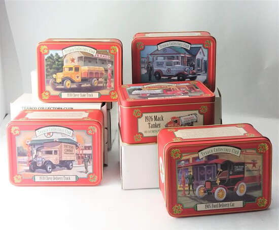 Lot of 5 Texaco Collectors Club Collectible Tin Displays