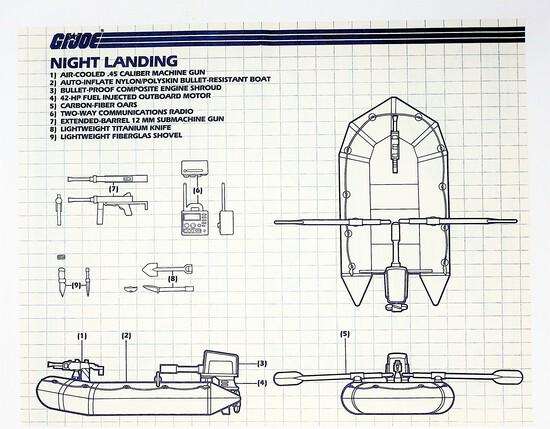 GI Joe Vintage Night Landing Original Hasbro Vehicle Blueprints / Instructions Hasbro