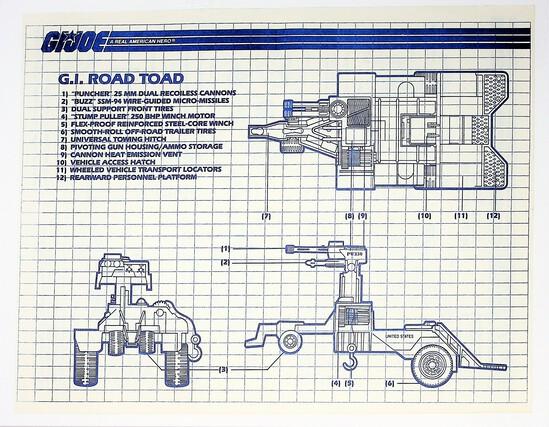 GI Joe Vintage Road Toad Original Hasbro Vehicle Blueprints / Instructions Hasbro