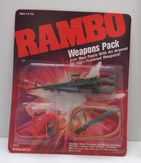 Vintage 1985 Coleco Rambo Action Figure Weapons Pack