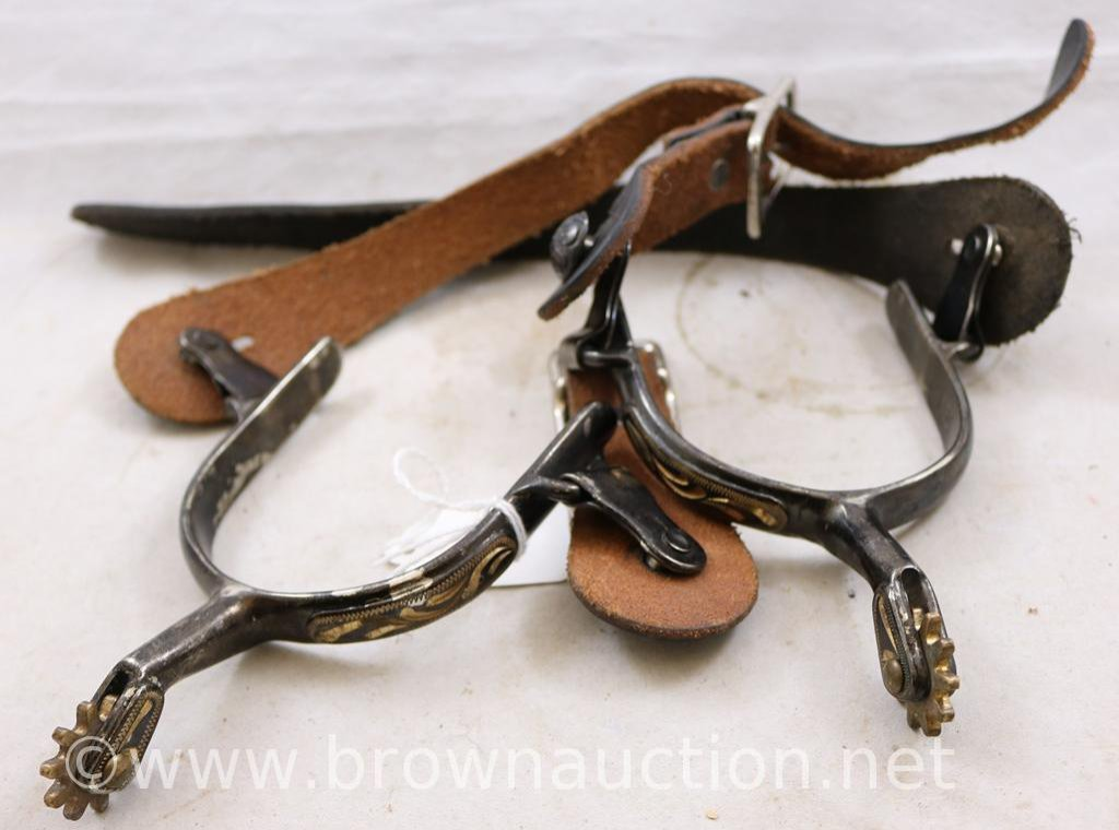 Lot: Mrkd  CSC (Colorado Saddlery Co ) spurs with leather