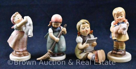 "(4) Hummel figurines, 2.5""-3.5"" tall, various 80's and 90's marks"