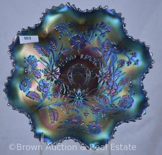 """Carnival Glass """"Good Luck""""/Basketweave 8.5""""d bowl, amethyst with heavy blue iridescence"""