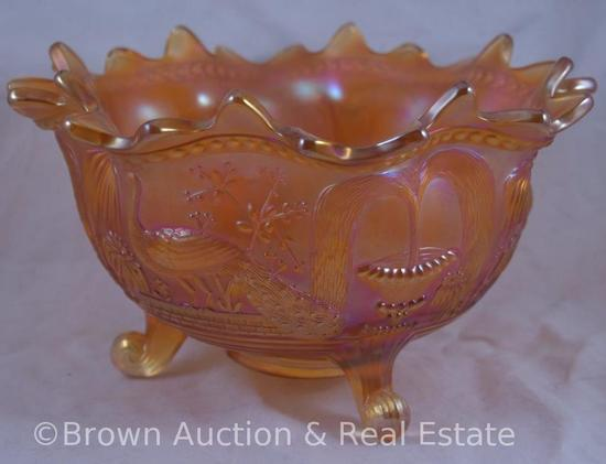 Carniva Glass Peacock at the Fountain large footed orange bowl, marigold