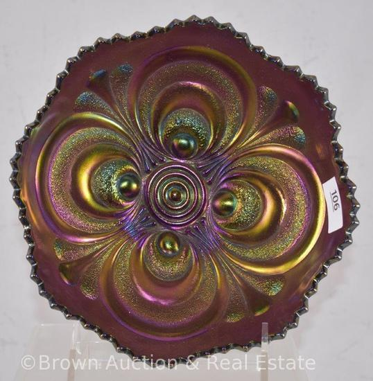 """Carnival Glass Scroll Embossed 7""""d x 3""""h bowl, purple"""