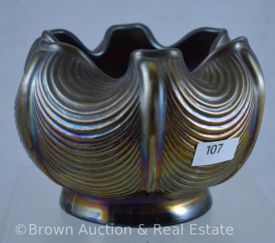 Carnival Glass Drapery rose bowl, amethyst