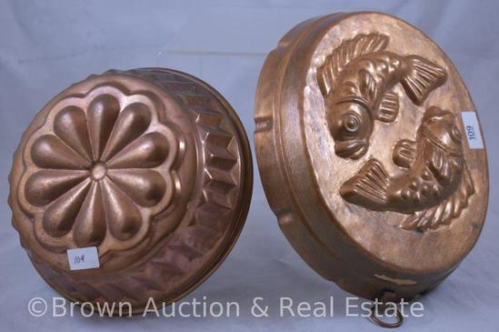 (2) Copper molded cake pans