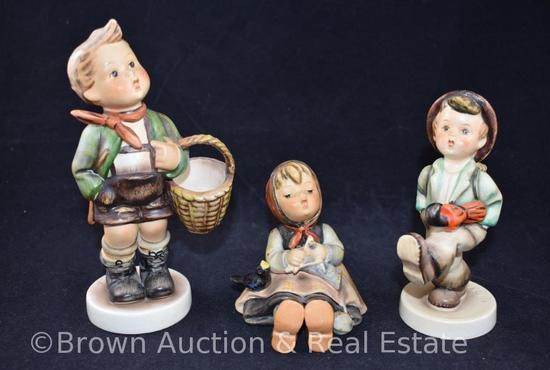 """(3) Hummel figurines: 3.5""""-6.75"""" tall, 60's marks"""