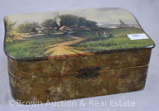 """Celluloid dresser box with great scenic landscape/people/sailboat lid, 8""""x5""""x3.5"""" tall"""