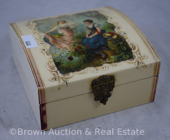 "Celluloid dresser box, 2 women in garden scenic lid, 5.5""x5.5""x3"" tall"