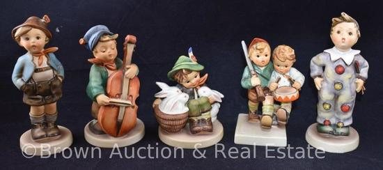 "(5) Hummel figurines, 4""-6"" tall, various 70's & 80's marks"