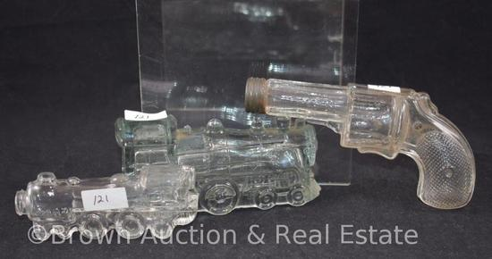 (3) Glass candy containers: (2) train engines and (1) pistol