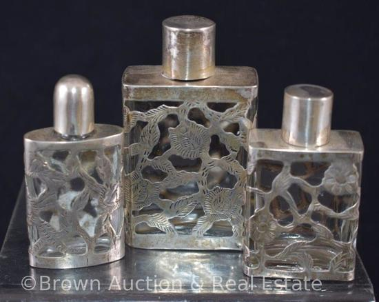 """(3) Perfume bottles with decorative silver overlay, Sterling & Hallmarks, 2.5"""" - 3.5"""" sizes"""