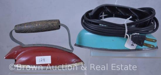 (2) Children's toy irons, 1 is elec. Wolverine