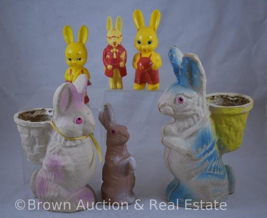 (6) Vintage Easter bunnies, paper mache and celluloid
