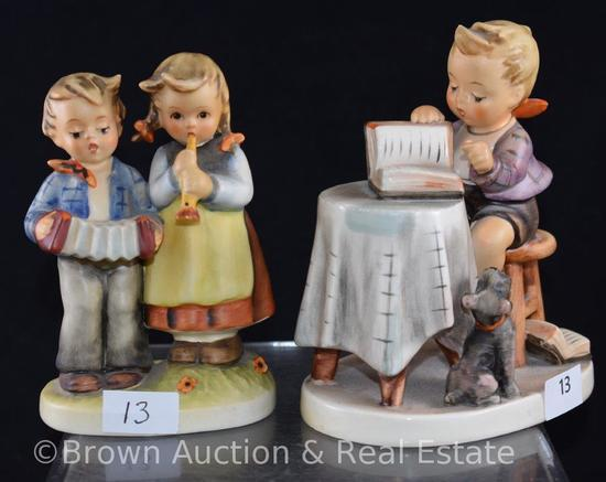 "(2) Hummel figurines: 5"" ""Little Bookkeeper"" & 4.5"" ""Birthday Serenade"""
