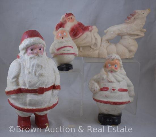 (4) Vintage Paper mache Santas