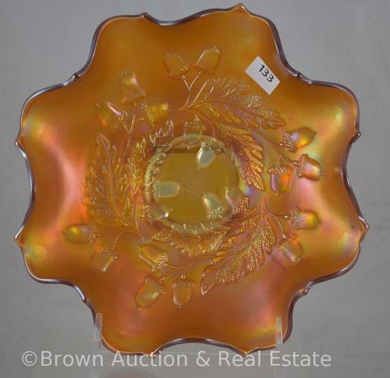 "Carnival Glass Acorn 7.5""d bowl, marigold"