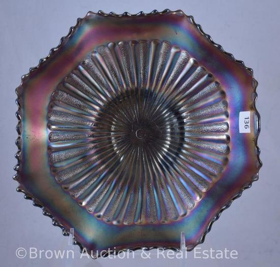 "Carnival Glass Stippled Rays 9""d bowl, amethyst"