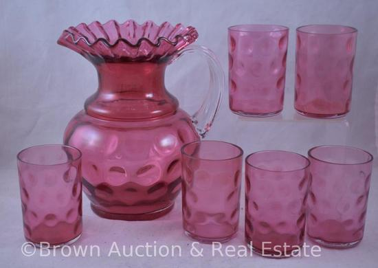 Cranberry Inverted Thumbprint pitcher and (6) tumblers