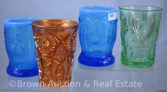 (4) Assorted tumblers - Carnival and EAPG (damage to 1)