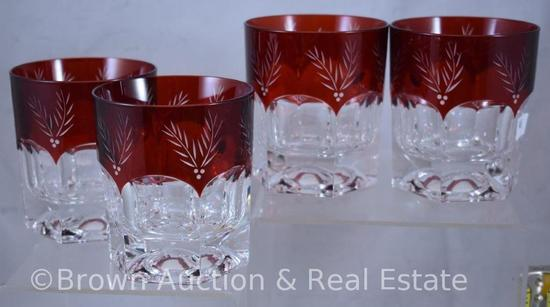 (4) Ruby-stained tumblers