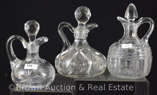 (3) Crystal cruets - EAPG and etched