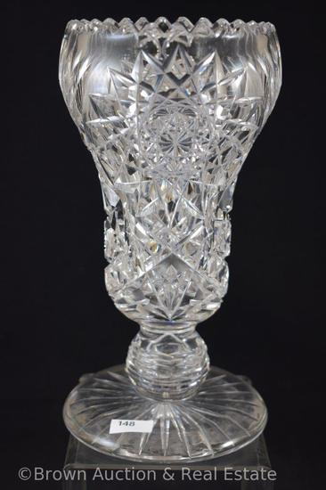 "Cut Glass 10"" tall vase, large Hobstars dominate"