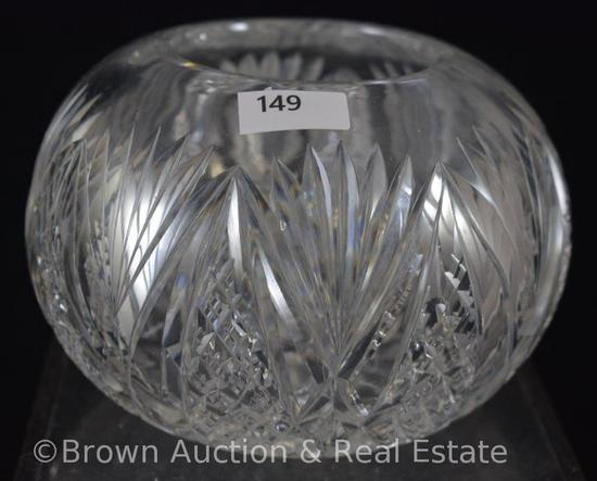 "Cut Glass 4""h rose bowl decorated with Cross-cut diamonds and Fans"
