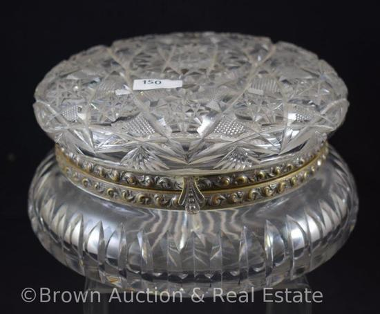 "Cut Glass 8""d x 4""h round dresser box, Hobstars and Strawberry Diamond fields (has come unhinged)"