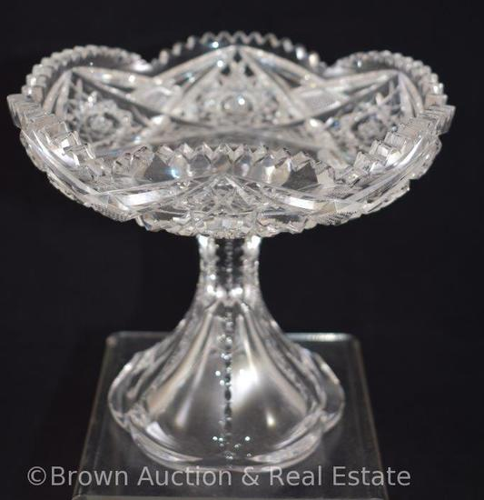 "Cut Glass 6""h compote, Hobstars"