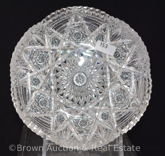 "Cut Glass 7""d low bowl, busy pattern of Hobstars"