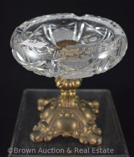 "Cut Glass 5.5""h compote with heavy gold metal stem and base (inner rim damage)"